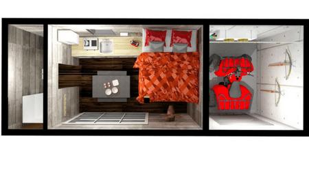 Plan 3D intérieur, Coolbox de chasse